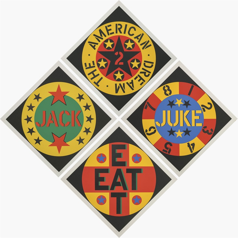 Robert Indiana (b.  1928), The American Dream No. 2 (Sheehan 125), 1982. Image 24 x 24 in (610 x 610 mm), sheet 26¾ x 26¾ in (680 x 680 mm), (4). Estimate $4,000-6,000. This lot is offered in Prints & Multiples, 6-14 December 2016, Online