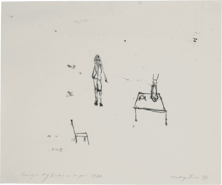 Tracey Emin (b.  1963), Leaving – My Brother – The Year 1977, 1994. Sheet 16⅝ x 20¼ in (422 x 513 mm). Estimate $4,000-6,000. This lot is offered in Prints & Multiples, 6-14 December 2016, Online