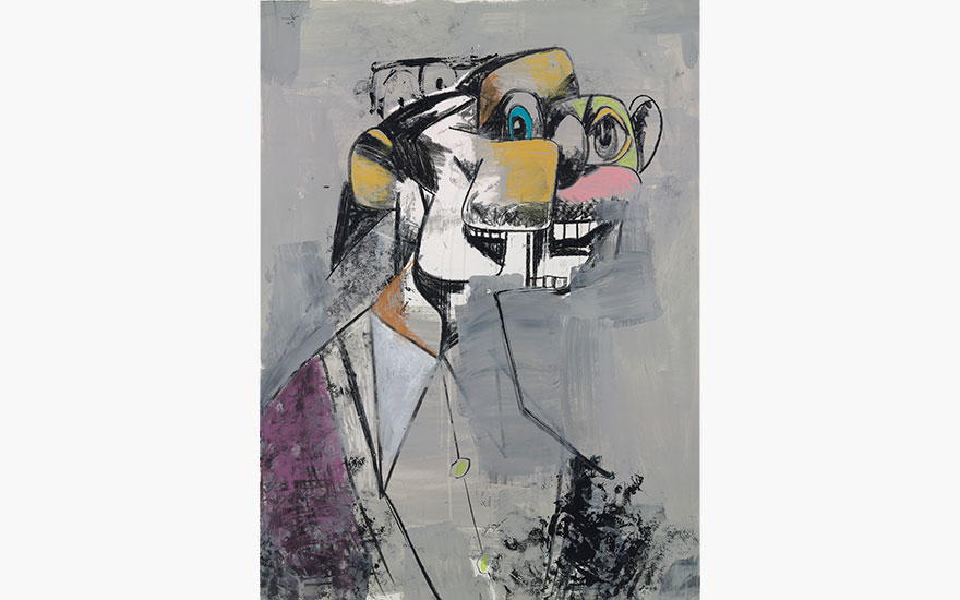 George Condo (b. 1957), Deconstructed Portrait, 2009. Signed and dated 'Condo 09' (upper left). Acrylic, pastel and charcoal on paper. 46 78 x 34 34 in. (119 x 88.4 cm.). This work is