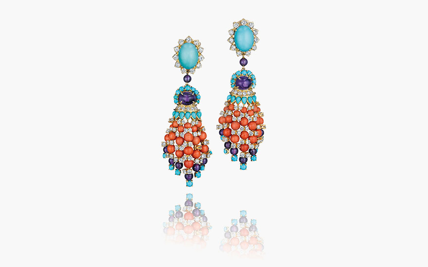 A pair of multi-gem and diamond ear pendants, by Van Cleef & Arpels. Estimate $40,000–60,000. Sold for $131,000 at Christie's New York on 9 June 2016
