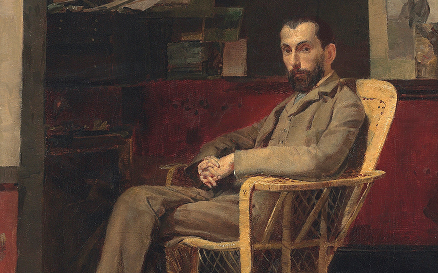 Tom Roberts (1856-1931), Portrait of Louis Abrahams (detail). Oil on canvas. 16 x 14 in (40.6 x 35.6 cm). Sold for £314,500 (A$683,691) on 24 September 2015