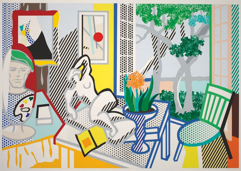 Roy Lichtenstein (1923-1997), Bellagio Hotel Mural Still Life with Reclining Nude (Study), 1997. Cut-and-pasted, painted and printed paper on board. 40⅛ x 60 in (101.2 x 153 cm). The Roy Lichtenstein Foundation Collection © Estate of Roy Lichtenstein