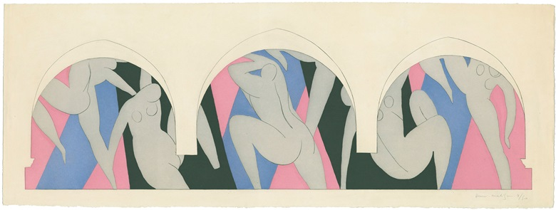 Henri Matisse (1869-1954), La Danse (The Dance), 1935-36. Colour aquatint in black, grey, rose and blue Platemark, stone or block. 9 516 x 29⅛ in (23.6 x 76 cm). Sheet 11 1116 x 31 in (29.7 x 80.7 cm). The Pierre and Tana Matisse Foundation Collection  © 2016 Succession H. Matisse  Artists Rights Society (ARS), New York