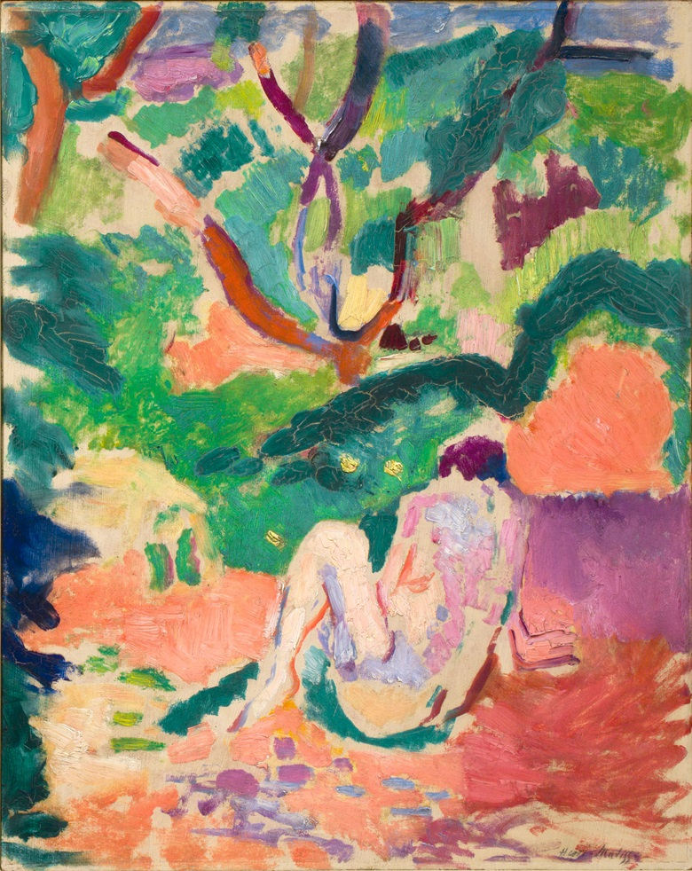 Henri Matisse (1869-1954), Nude in a Wood (Nu dans la forêt; Nu assis dans le bois), 1906. Oil on board mounted on panel. 16 x 12 in (40.6 x 32.4 cm). Brooklyn Museum, Gift of George F. Of, 52.150 © 2016 Succession H. Matisse  Artists Rights Society (ARS), New York