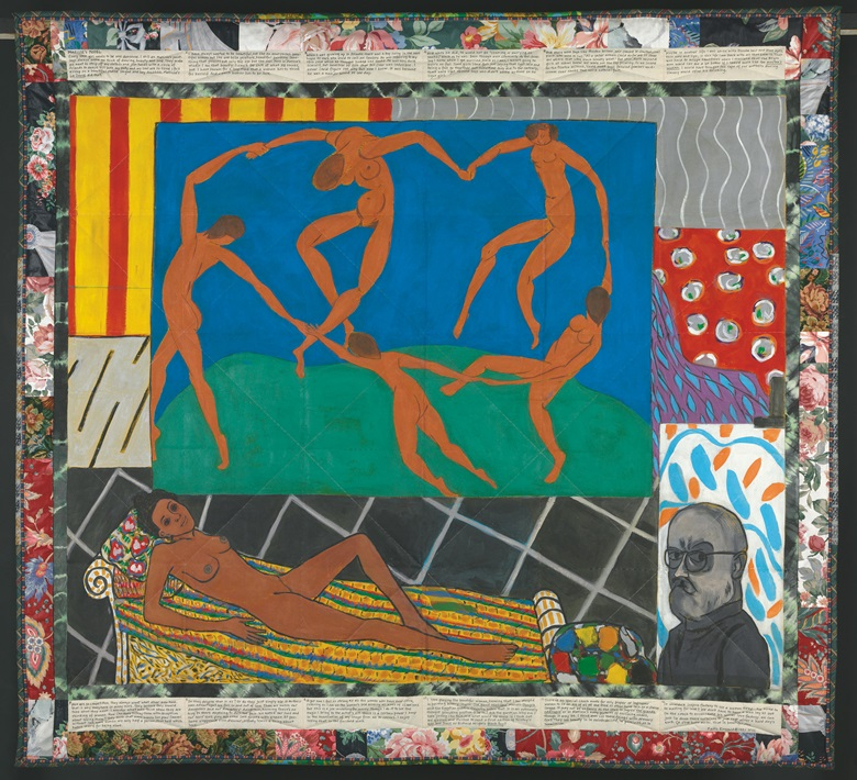 Faith Ringgold (b. 1930), Matisses Model, 1991 (From the Series The French Collection Part I; #5). Acrylic on canvas, printed and tie-dyed fabric, ink. 73 x 79 in (185.42 x 201.93 cm). Baltimore Museum of Art Frederick R. Weisman Contemporary Art Acquisitions Endowment (BMA 1999.66) © 2016 Faith Ringgold  Artists Rights Society (ARS), New York