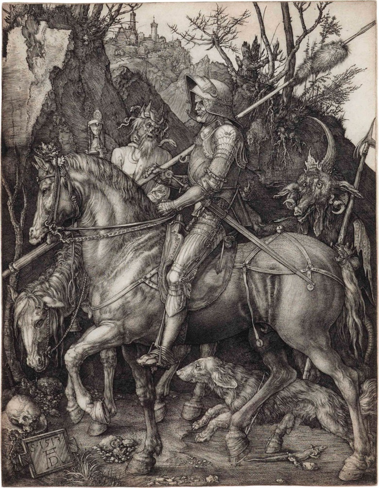 Albrecht Dürer (1471-1528), Knight, Death and the Devil. Engraving, 1513. Plate 241 x 186 mm, sheet 243 x 187 mm. This lot was offered in Old Master Prints on 25 January 2017 at Christie's in New York and sold for $187,500