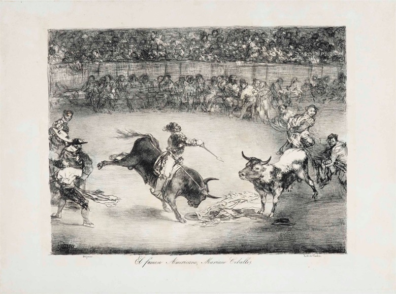 Francisco de Goya y Lucientes (1746-1828), El Famoso Americano, Mariano Ceballos, From The Bulls of Bordeaux. Lithograph, 1825. Image 310 x 405 mm, sheet 445 x 567 mm. This lot was offered in Old Master Prints on 25 January 2017 at Christie's in New York and sold for $81,250