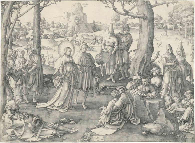 Lucas van Leyden (1494-1533), The Dance of Mary Magdalene. Engraving, 1519. Sheet 290 x 396 mm. Estimate $35,000-45,000. This lot was offered in Old Master Prints on 25 January 2017 at Christie's in New York and sold for $40,000
