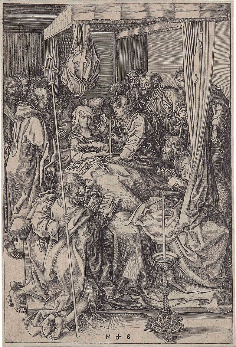 Martin Schongauer (circa 1445-1491), The Death of the Virgin. Engraving, c. 1470-74. Sheet 258 x 172 mm. This lot was offered in Old Master Prints on 25 January 2017 at Christie's in New York and sold for $112,500