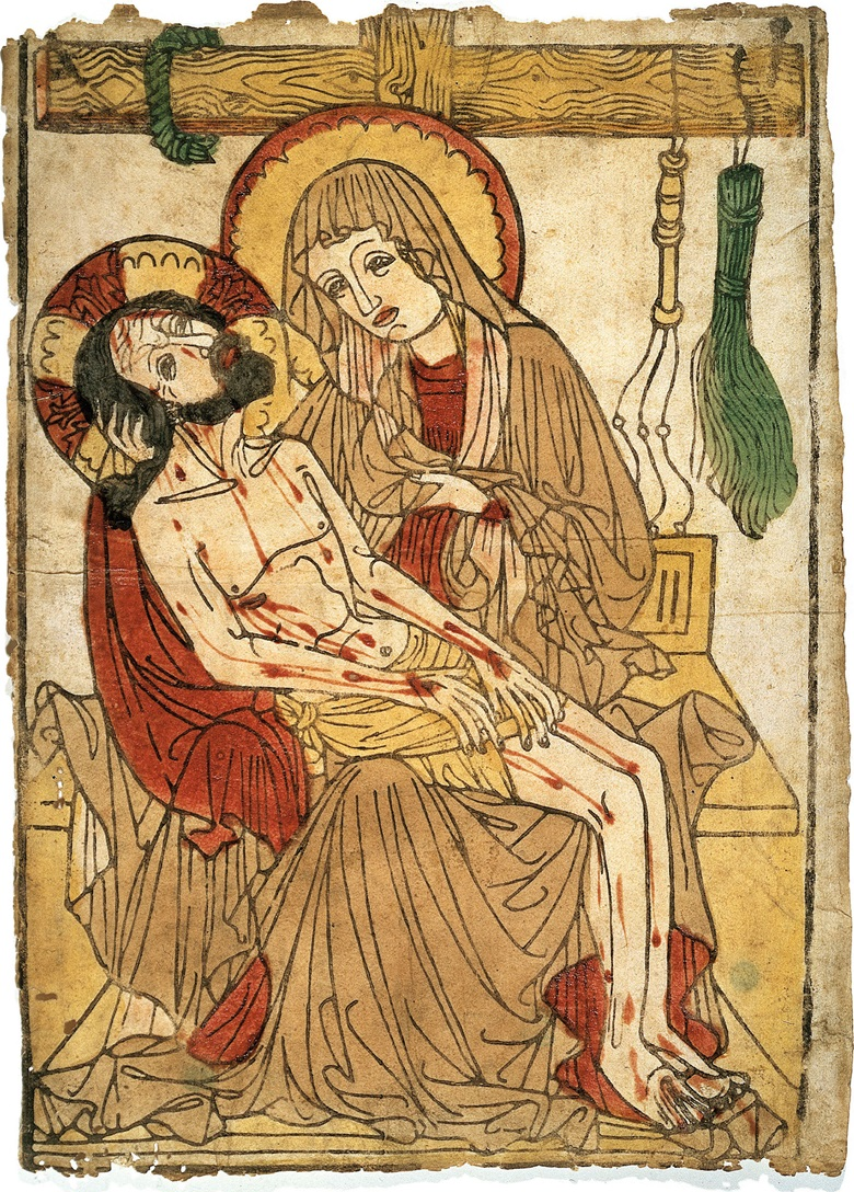 Anonymous, 15th Century (German School), The Pietà. Woodcut with extensive hand-colouring, circa 1450. Sheet 403 x 275 mm. Sold for £223,000 on 3 July 2001 at Christie's London