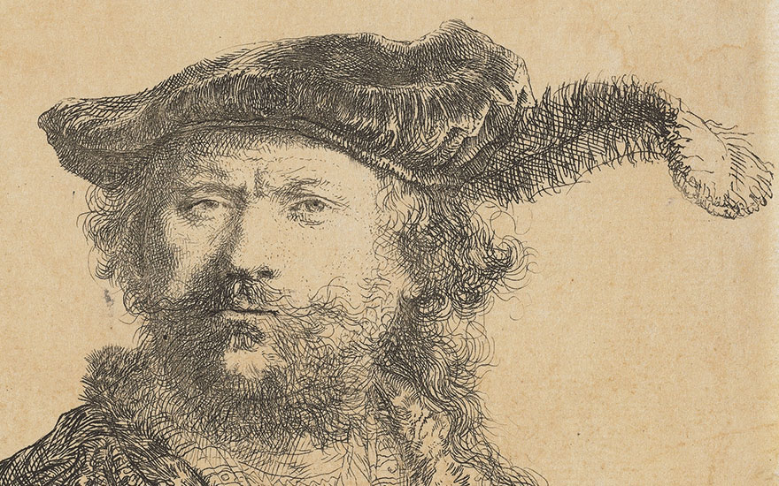 Rembrandt Harmensz. van Rijn (1606-1669), Self-Portrait in a Velvet Cap with Plume (detail). Sheet 120 x 102 mm. This lot was offered in Old Master Prints on 25 January 2017 at