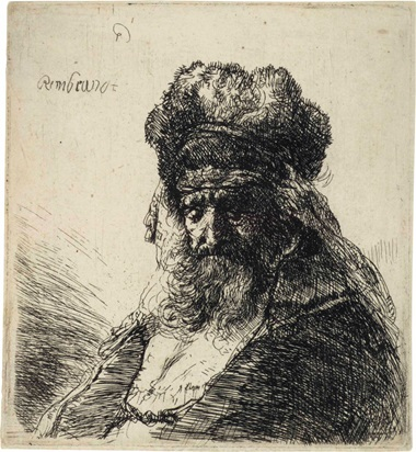 Rembrandt Harmensz. van Rijn (1606-1669), Bearded Old Man in Fur Cap, circa 1635. Etching. Plate 112 x 101 mm. Sheet 115 x 105 mm. Sold for $52,500 in Old Master Prints on 25 January 2017 at Christie's in New York