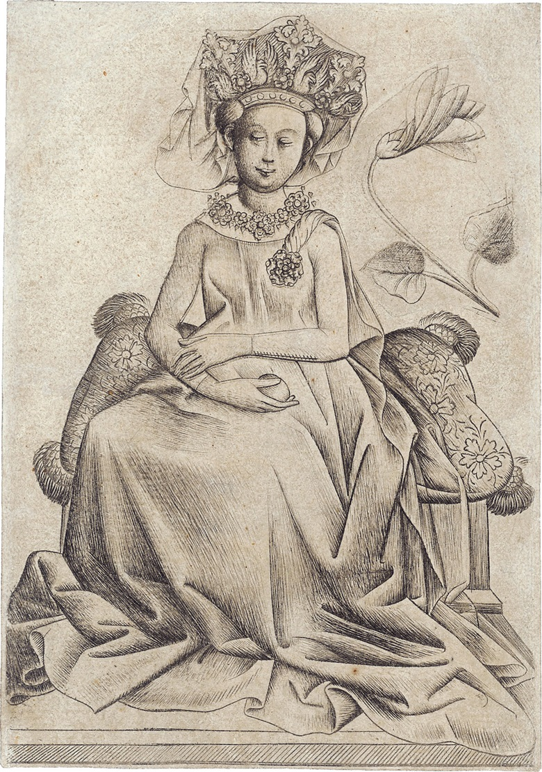The Master of the Playing Cards (active c. 1435-1455), The Queen of Flowers B. Engraving, c. 1435-40. Sheet 130 x 91mm. Sold for £243,000 on 20 September 2006 at Christie's London