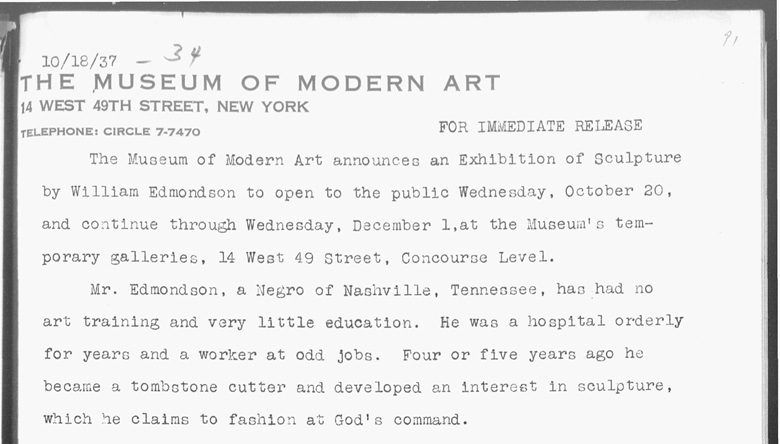 Extract from MoMA's 1937 press release