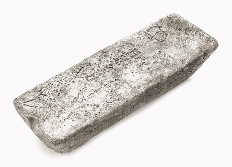 A 79 troy pound silver bar recovered from the wreck of the Nuestra Senora de Atocha. Dated 1621. 5 in (12.7 cm) high, 15 in (38.1 cm) wide, 2 ¼ in (5.7 cm) deep; 79 lb t; 1 oz t; 2 dwt. Sold for $40,000 on 20 January 2017