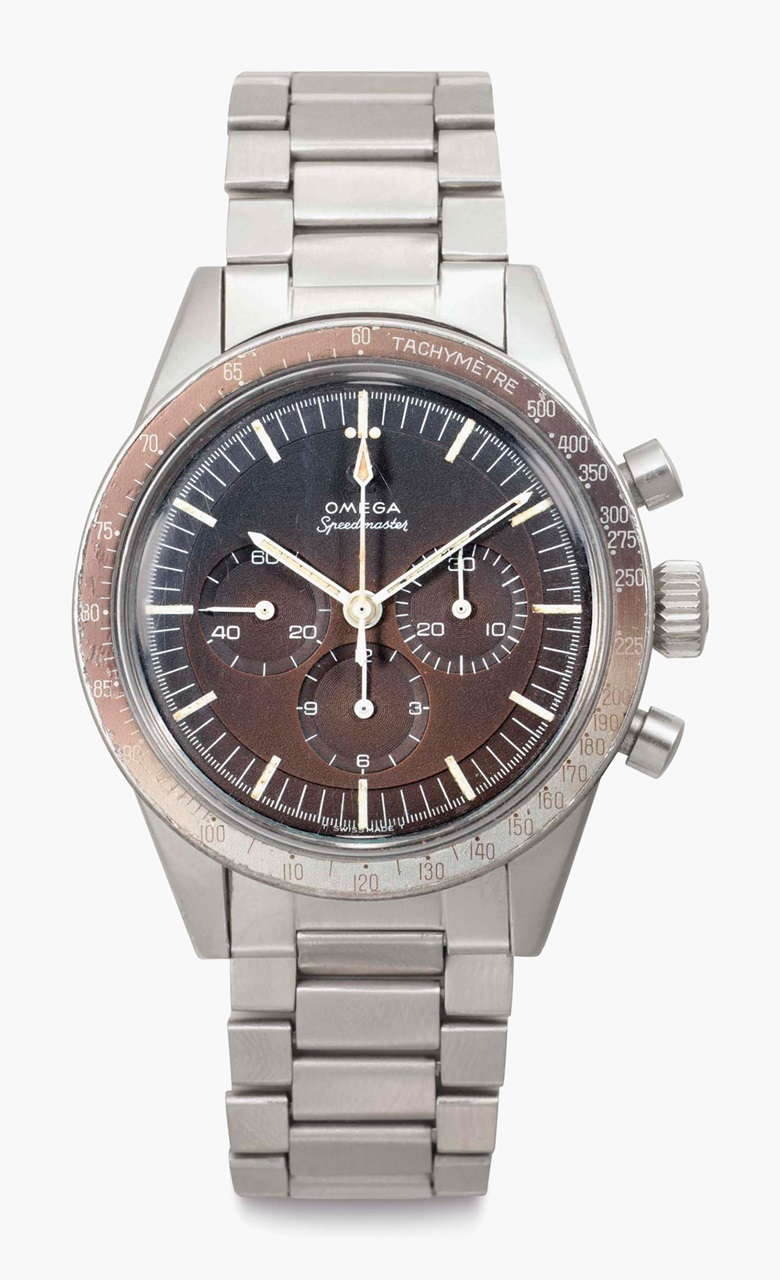 Omega. A fine stainless steel chronograph wristwatch with 'tropical' dial and bracelet. Signed Omega, Speedmaster, Ref. ST 105 003, No. 26441774, Manufactured in 1967. Sold for $30,000 on 6 December 2016