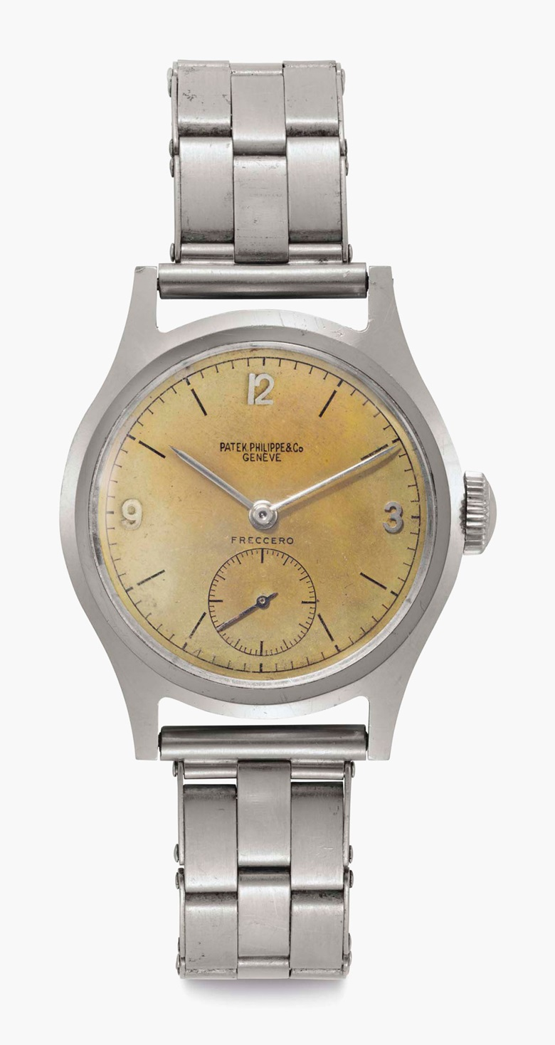 Patek Philippe. A stainless-steel wristwatch with 'tropical' dial and bracelet. Signed Patek Philippe & Co., Genève. Retailed by Freccero. Ref. 565. Movement No. 926255.Case No. 634112. Manufactured in 1944. Sold for $77,500 on 6 December 2016