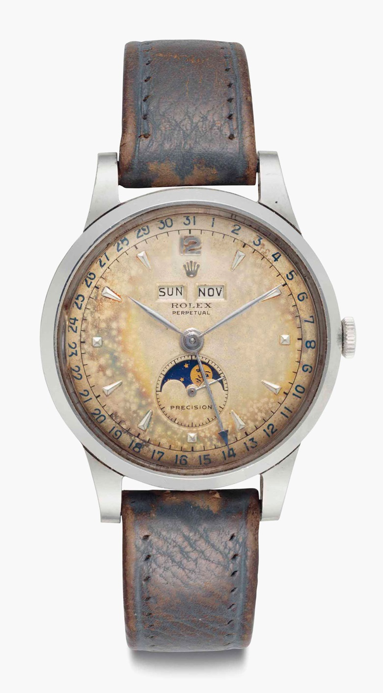 Rolex. An extremely rare and fine stainless-steel automatic triple calendar wristwatch with moon phases and tropical dial. Signed Rolex, Perpetual, Precision, Ref. 8171, Movement No. 56924, Case No. 686258, Circa 1951. 38mm diam. Sold for $161,000 on 7 June 2016