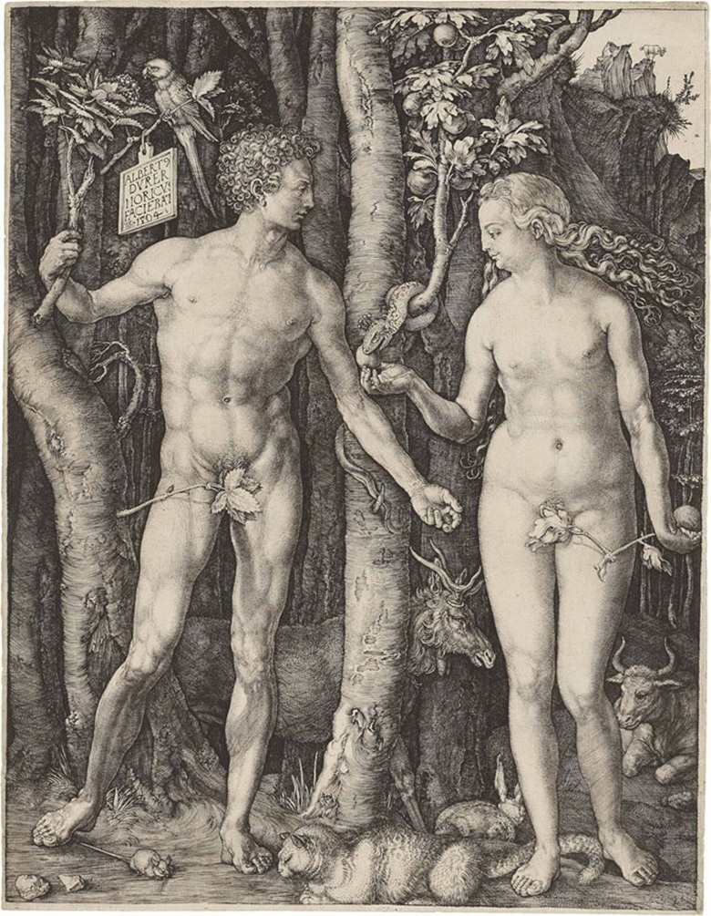 Albrecht Dürer, Adam and Eve (B., M,. Holl. 1; S.M.S. 39). Engraving, 1504. Sold for $662,500 on 29 January 2013 at Christie's in New York