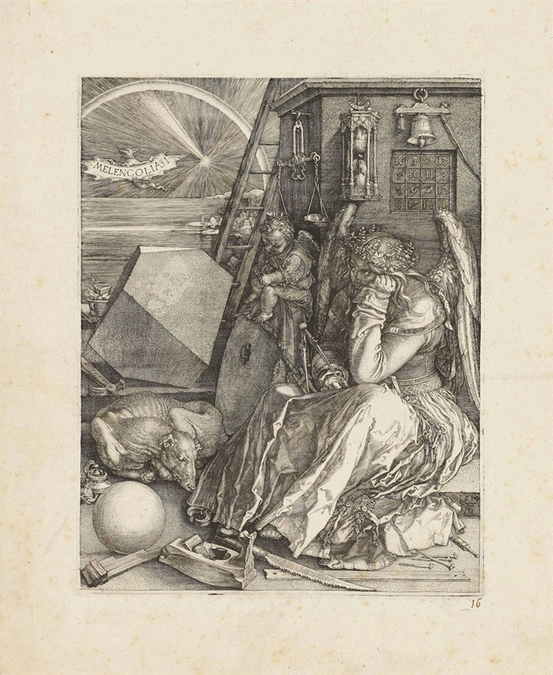 Albrecht Dürer, Melencolia I (B. 74; M., Holl. 75; S.M.S. 71). Engraving, 1514. Sold for $530,500 on 29 January 2013 at Christie's in New York