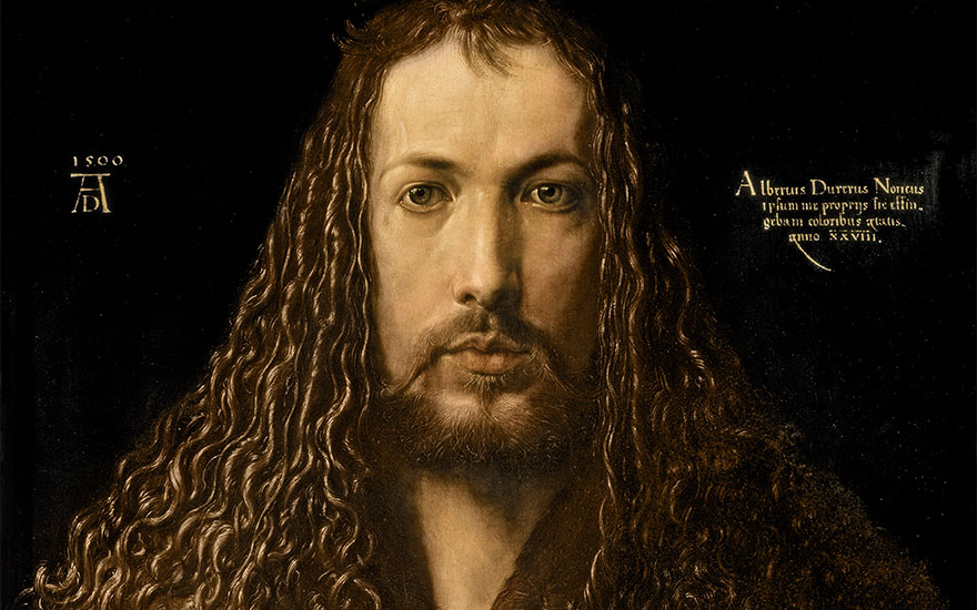Albrect Dürer, Self-Portrait at the Age of Twenty-Eight, 1500. Oil on panel. Alte Pinakothek, Munich, Germany  Bridgeman Images