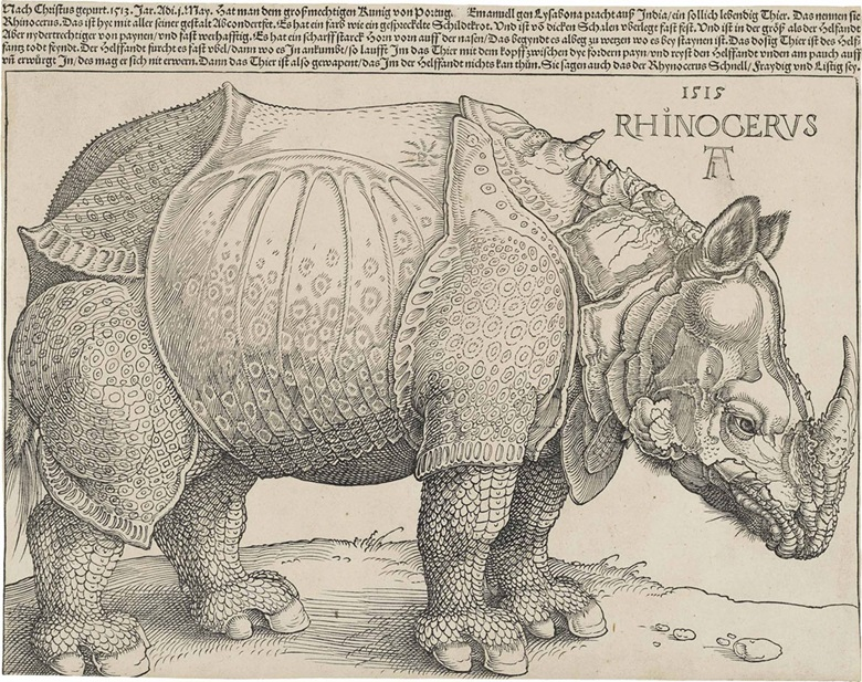 Albrecht Dürer, The Rhinoceros (B. 136; M., Holl. 241; S.M.S. 241). Woodcut with letterpress text, 1515. Sold for $866,500 on 29 January 2013 at Christie's in New York
