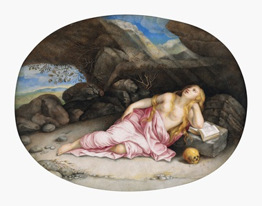 Giovanna Garzoni (Ascoli 1600-1670 Rome), Mary Magdalen in the Desert, after Orazio Gentileschi. Traces of black chalk, bodycolour and gum arabic on vellum laid down on panel, 6⅝ x 8½ in (16.8 x 21.6 cm), oval. This lot was offered in Old Master Drawings on 24 January 2017 at Christie's in New York and sold for $75,000