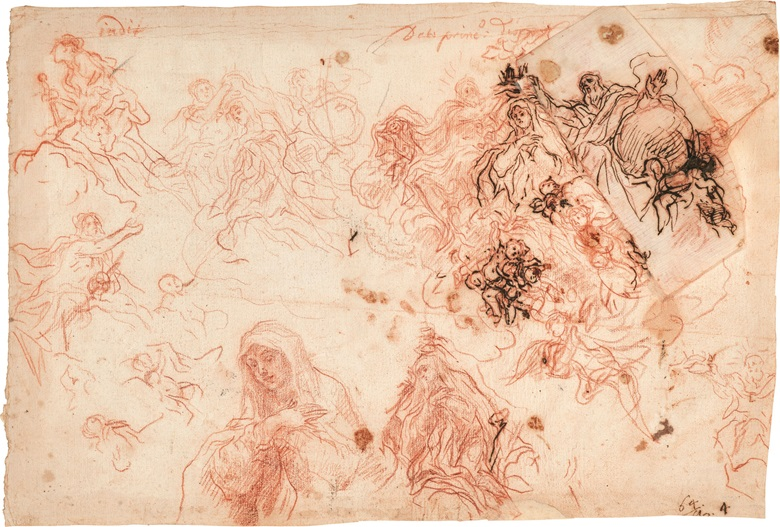 Baldassare Franceschini, Il Volterrano (Volterra 1611–1690 Florence), A sheet of studies the Coronation of the Virgin, Judith with the Head of Holofernes, and God the Father, with two further studies of God the Father for the Coronation. Red chalk, pen and brown ink, 10⅝ x 15⅝ in (27 x 39.6 cm). This lot was offered in Old Master Drawings on 24 January 2017 at Christie's in New York