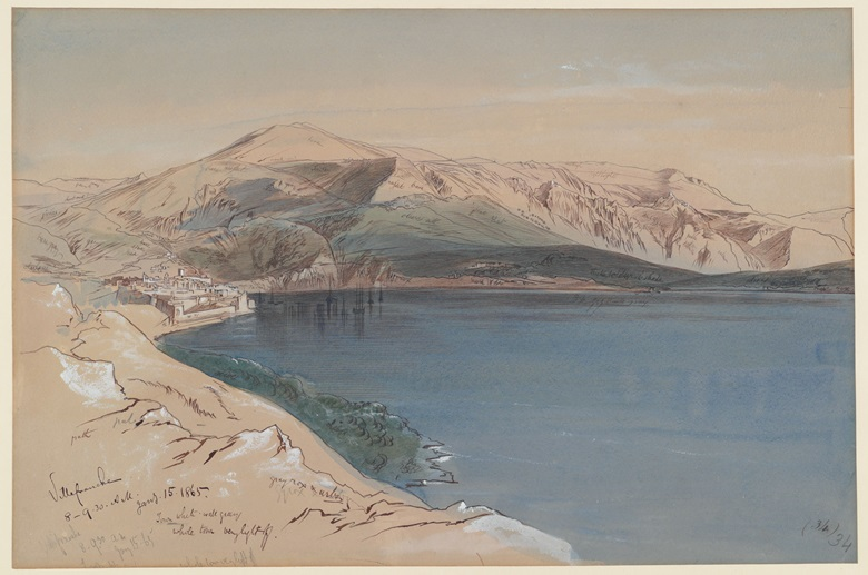 Edward Lear (Holloway 1812–1888 Sanremo, Italy), Study of Villefranche-sur-Mer. Courtesy Courtauld Gallery
