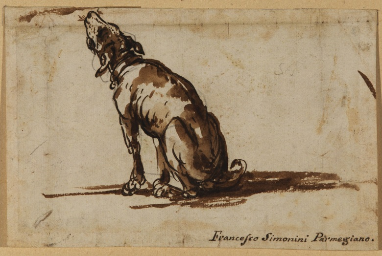 Francesco Simonini (Parma 1686–circa 1755 Venice), Howling Dog, circa 1730-1750. Courtesy Courtauld Gallery