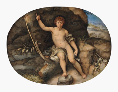 Giovanna Garzoni (Ascoli 1600-1670 Rome), Saint John the Baptist in the Wilderness, After Raphael. Traces of black chalk, bodycolour and gum arabic on vellum laid down on panel, 6⅝ x 8½ in (16.8 x 21.6 cm), oval. This lot was offered in Old Master Drawings on 24 January 2017 at Christie's in New York and sold for $75,000