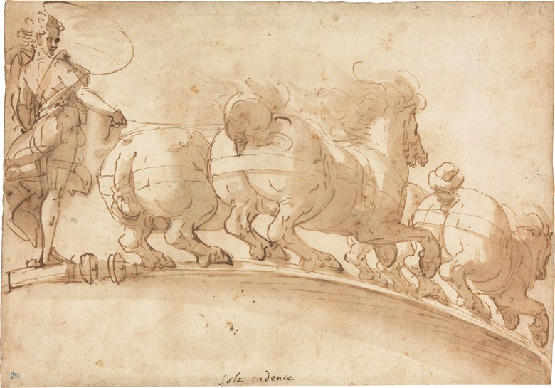 Luca Cambiaso (Moneglia 1527-1585 Madrid), The Chariot of the Setting Sun. Pen and brown ink, brown wash, watermark circle surmounted by a cross with initial M, 8½ x 11⅞ in (21.6 x 30.2 cm). This lot was offered in Old Master Drawings on 24 January 2017 at Christie's in New York and sold for $15,000