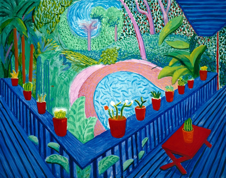 David Hockney, Red Pots in the Garden, 2000. Oil on canvas. 60 x 76 in. © David Hockney Photo Credit Richard Schmidt