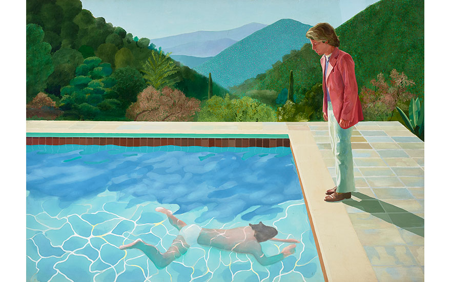 David Hockney, Portrait of an Artist (Pool with Two Figures), 1972. Acrylic on canvas. 84 x 120 in. © David Hockney Photo Credit Art Gallery of New South Wales  Jenni Carter