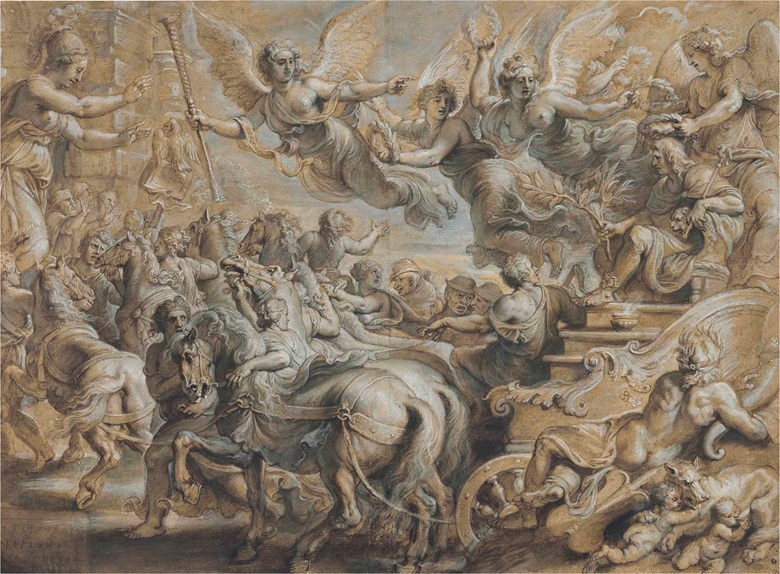Peter Paul Rubens (Siegen 1577-1640 Antwerp), Scipio Africanus Welcomed Outside the Gates of Rome, After Giulio Romano. Black chalk, pen and brown ink, brown wash, grey, cream, white and green bodycolour with heightening in oil, 16½ x 22½ in (41.9 x 57.3 cm). Estimate $500,000-700,000. This lot is offered in Old Master Drawings on 24 January 2017 at Christie's in New York,