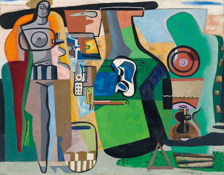 Le Corbusier (1887-1965), Nature morte et figure, 1944. Oil on canvas. 44¾ x 57¼ in (113.8 x 145.5 cm). Estimate £1,500,000-2,500,000. This work is offered in the Impressionist & Modern Art Evening Sale on 28 February at Christie's London.  © FLC ADAGP, Paris and DACS, London 2017