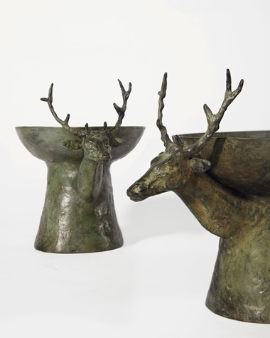 Pair of stag candleholders, patinated bronze and glass. Circa 1970. Each base 15⅞ x 6½ x 9½ in (21 x 17 x 21 cm). Estimate €100,000-150,000. This lot is offered in Les Giacometti d'Hubert de Givenchy on 6 March 2017 at Christie's in Paris