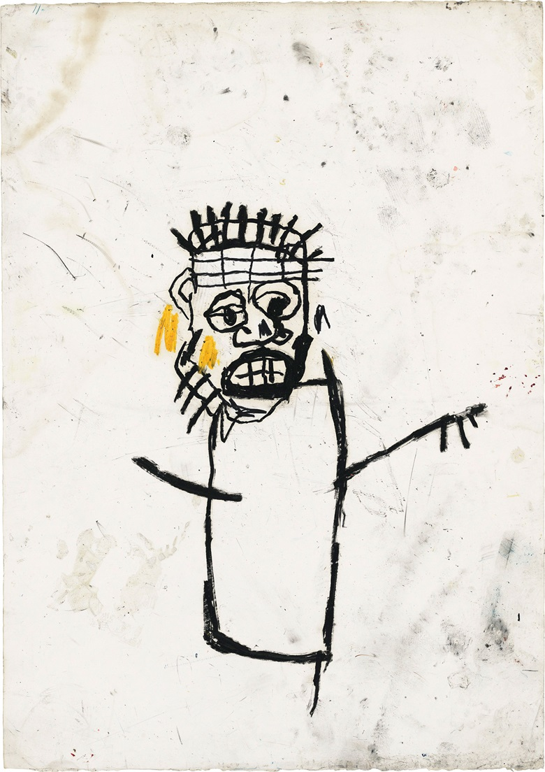 Jean-Michel Basquiat (1960–1988), Untitled, 1982. Oil stick on paper. 42⅝ × 30 in (108.3 × 76.2 cm). Estimate £1,000,000–1,500,000. This work is offered in the Post-War and Contemporary Art Evening Auction on 7 March at Christie's London