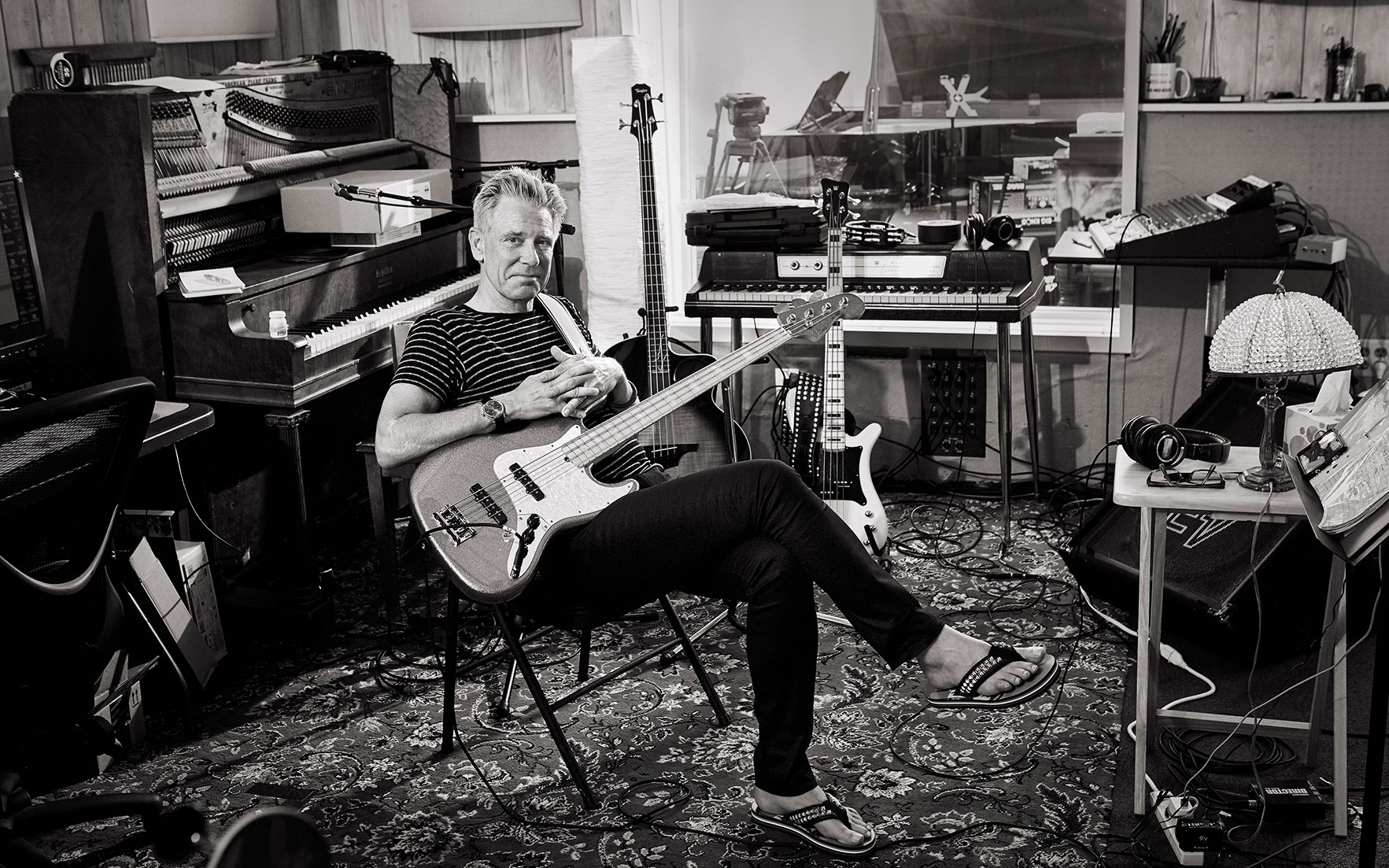 Adam Clayton at a studio in California. Photograph by Sam Jones