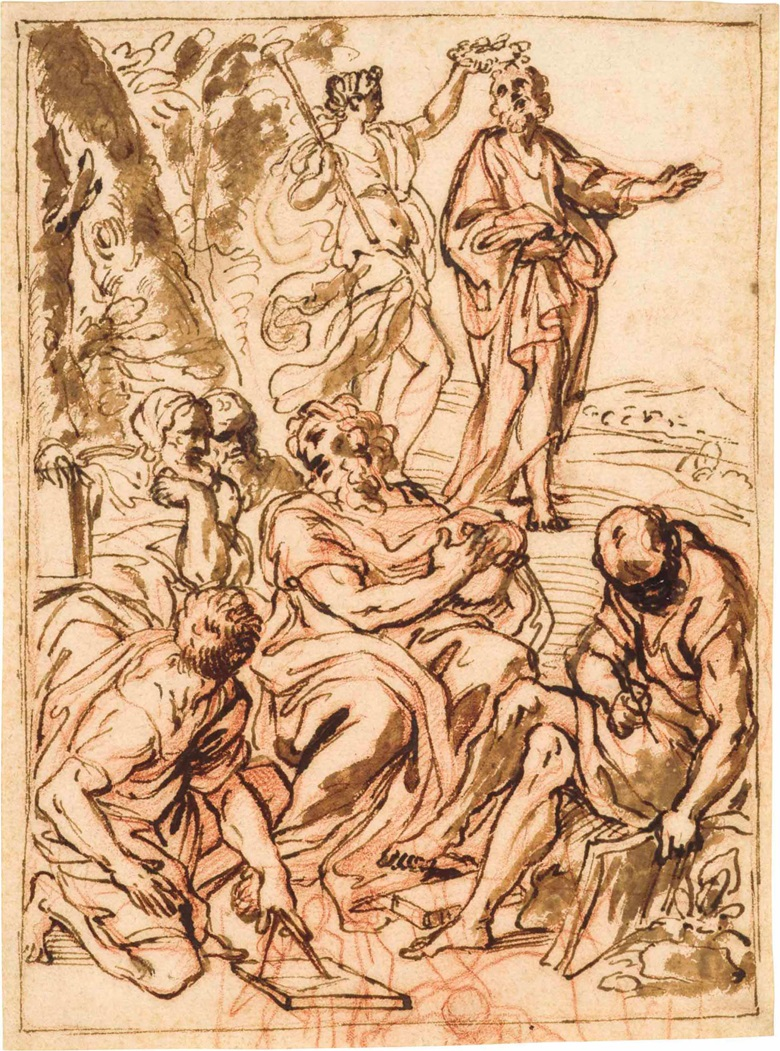 Giacinto Calandrucci (Palermo 1646-1707), An Allegorical Design with Fame Crowning Homer. Red chalk, pen and brown ink and brown wash, pen and brown ink framing lines. 9⅜ x 6⅞ in (23.8 x 17.6 cm). Sold for $8,750 on 24 January 2017 at Christie's in New York