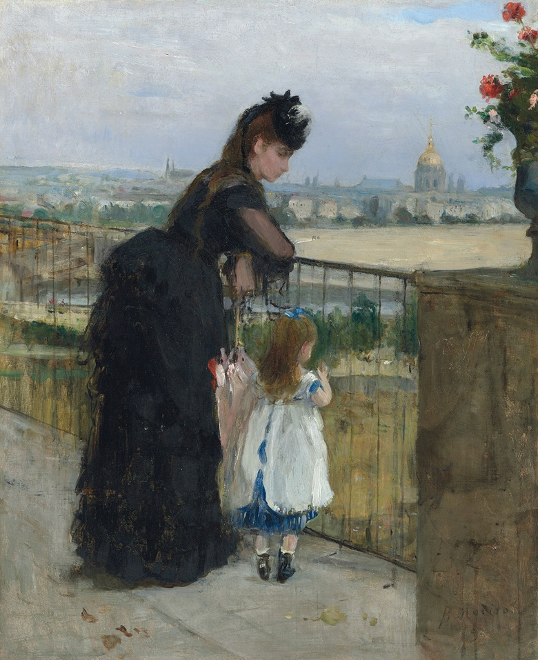 Berthe Morisot (1841-1895), Femme et Enfant au Balcon, 1872. Oil on canvas. 24 x 19 34 in (61 x 50 cm). Estimate £1,500,000-2,000,000.  This work is offered in the Impressionist & Modern Art Evening Sale on 28 February at Christie's London