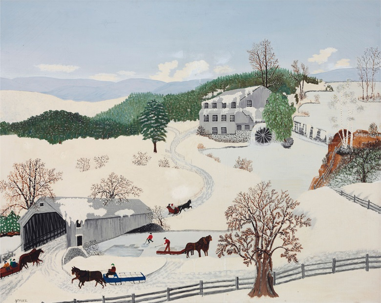 Grandma Moses, The Old Covered Bridge, 1943. At Olde Hope Antiques