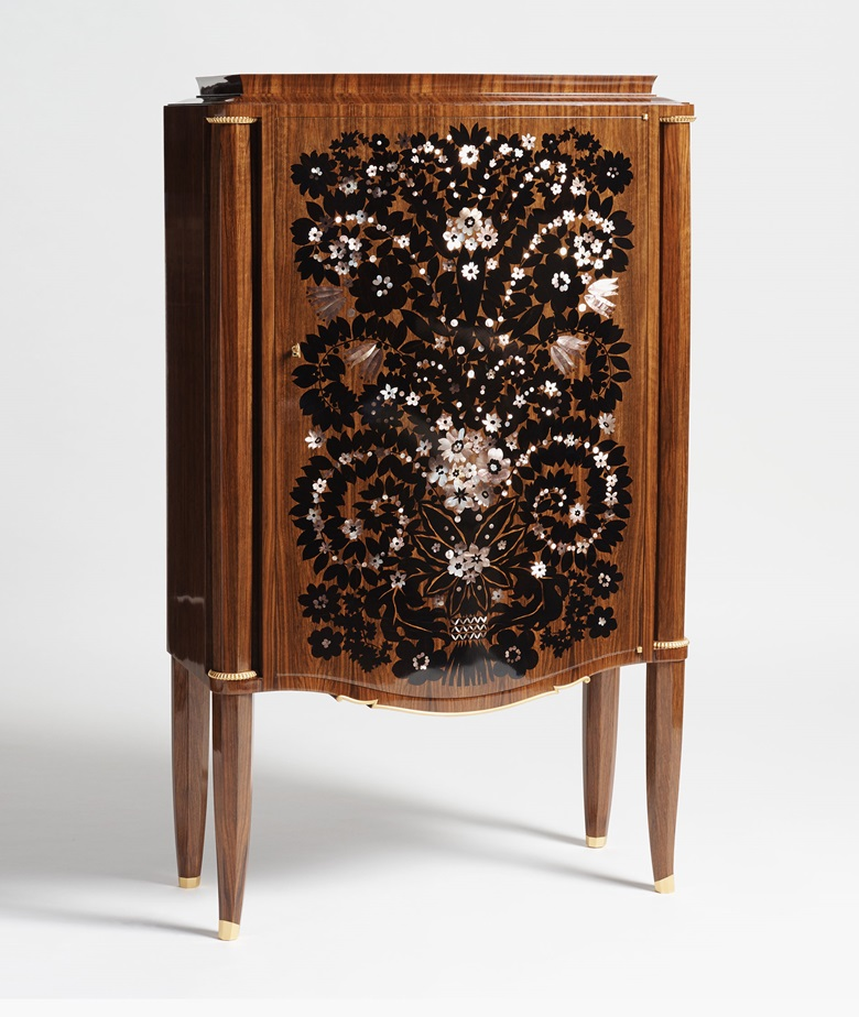 Jules Leleu, 'Fireworks' cabinet, circa 1946. Mahogany with Mother of Pearl and ebony inlay by Messager, gilt bronze details and ornaments. Photograph courtesy Maison Gerard