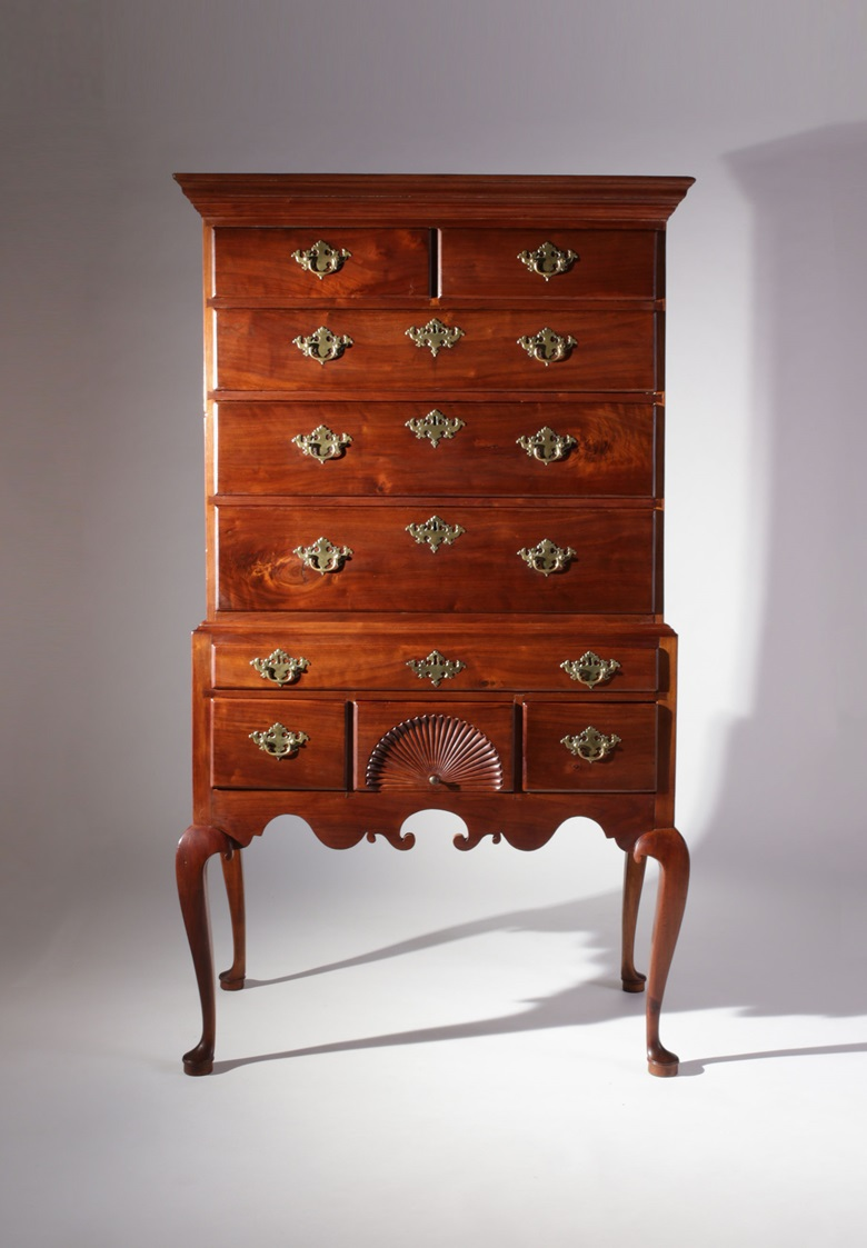 Queen Anne walnut flat-top highboy with a deeply scrolled apron, circa 1750, from the North Shore of Massachusetts, possibly Salem, at Nathan Liverant and Son