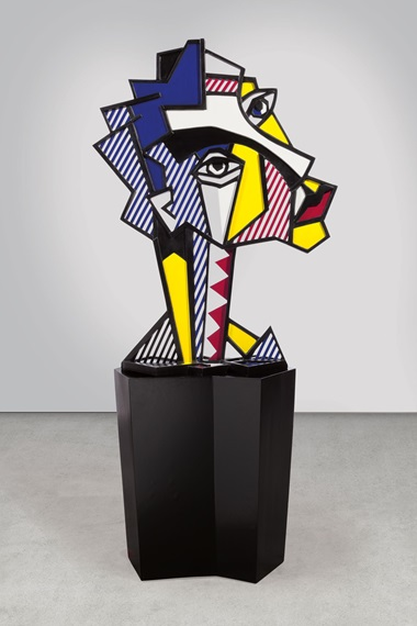 Roy Lichtenstein (1923-1997), Expressionist Head, 1980. Painted and patinated bronze with painted wooden base. Incised with the artists signature, number and date 16 rf Lichtenstein 80 (on the reverse lower edge). Sculpture 55 x 41 x 18 in (139.7 x 104.1 x 45.7 cm). Base 32 x 23 x 30⅜ in (81.3 x 58.4 x 77.1 cm). This work is number one from an edition of six. Estimate $2,500,000-3,500,000. This