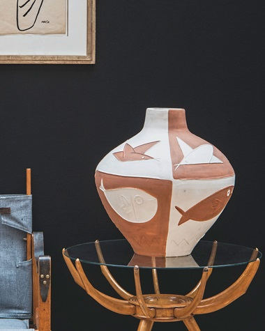 Pablo Picasso (1881-1973), Oiseaux et poissons (A.R. 291). White earthenware ceramic vase with coloured engobe, height 19⅝ in (50 cm). Estimate £60,000-80,000. This lot is offered in Picasso Ceramics Online, 24 February–7 March. Man Ray (1890-1976), Nude. Brush and india ink on paper, 18⅞ x 11⅜ in (47.9 x 28.8 cm). Estimate £7,000-9,000. This lot is offered in Impressionist and
