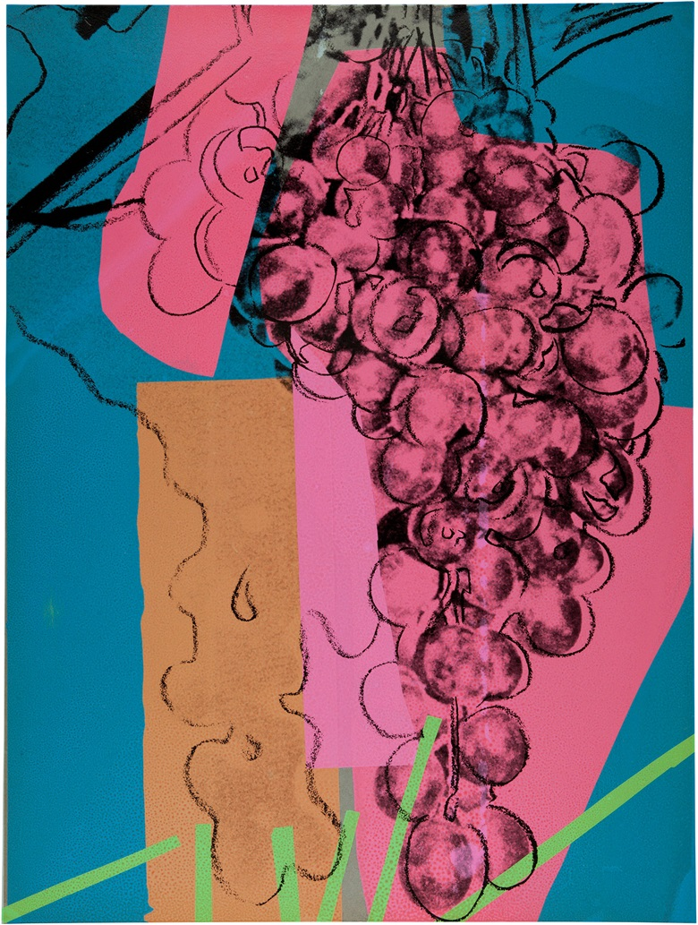Andy Warhol (1928-1987), Grapes (See F. & S. II.192A), 1957. Screenprint in colours on paper, a trial proof, 40 x 30 in (101.6 x 76.2 cm). Estimate $18,000-25,000. This work is offered in Andy Warhol@Christie's with NYFW The Shows online auction, 8-16 February 2017 © The Andy Warhol Foundation for the Visual Arts, Inc.  Artists Rights Society (ARS), New York