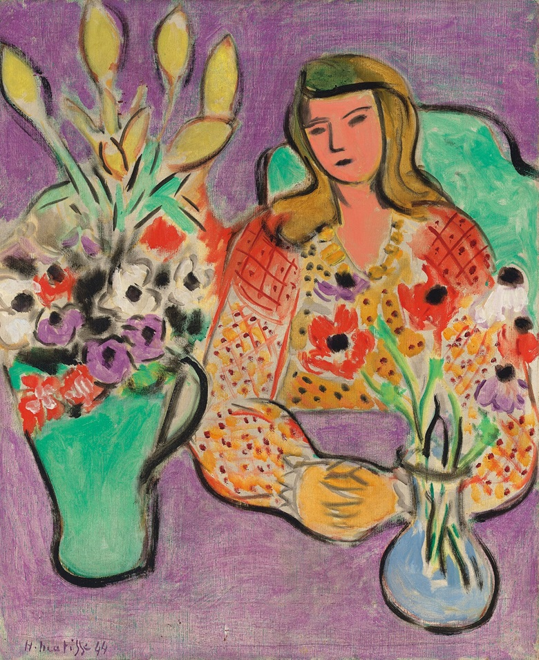 Henri Matisse, Jeune fille aux anémones sur fond violet, 1944. Estimate £5,000,000-7,000,000. This work is offered in the Impressionist & Modern Art Evening Sale on 28 February at Christie's London