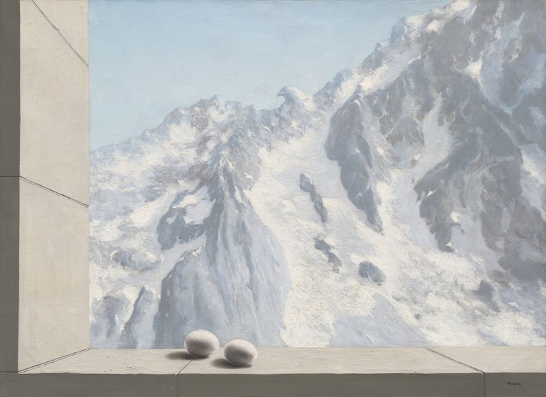 René Magritte (1898-1967), Le domaine d'Arnheim (The Domain of Arnheim), 1938. Oil on canvas. 28⅝ x 39⅜ in (72.8 x 100 cm). Sold for £10,245,000 on 28 February 2017 at Christie's in London. Artwork © Rene Magritte, DACS 2021
