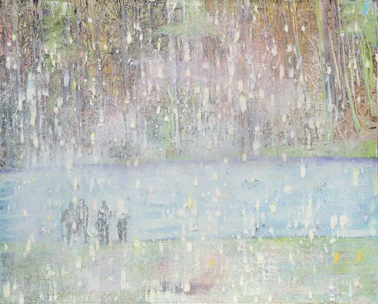 Peter Doig, Cobourg 3 + 1 More, 1994. Oil on canvas. 78½ x 98⅜ in (200 x 250 cm). Estimate £8,000,000-12,000,000. This work is offered in the Post War and Contemporary Art Evening Sale on 7 March at Christie's London